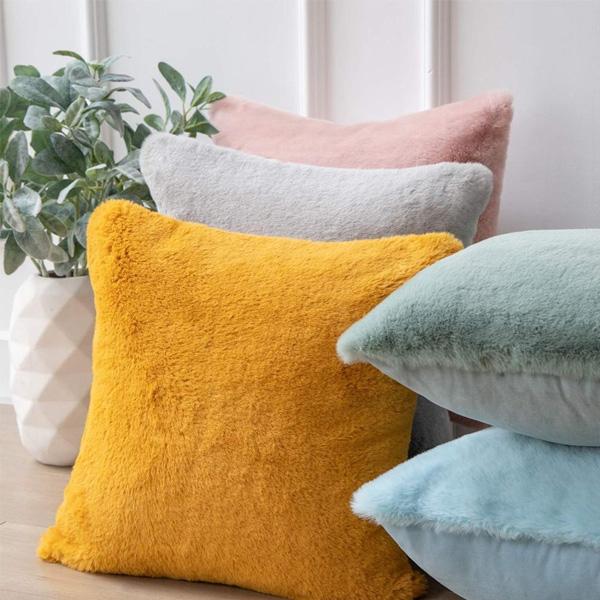 Soft Faux Rabbit Fur Pillowcase with Zipper