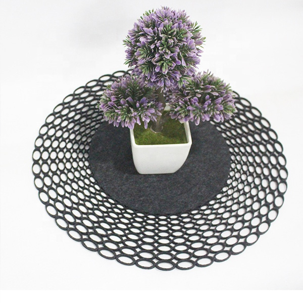 Laser Cut Felt Round Tablecloth For Home Kitchen