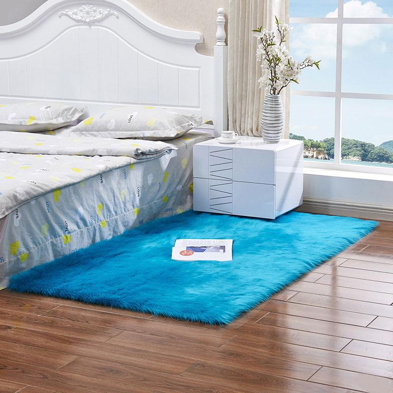 Rectangle Colorful Shaggy Plush Fuax Fur Carpet for Home