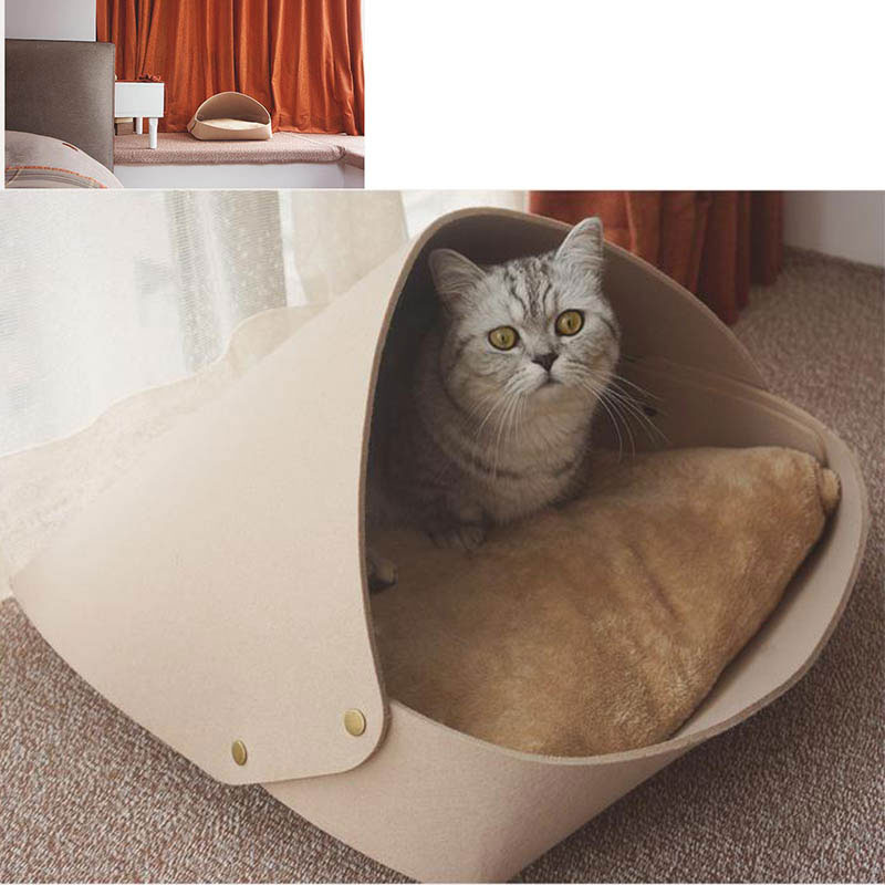 Hot Selling felt pet cat bed house High quality felt teepees for pet