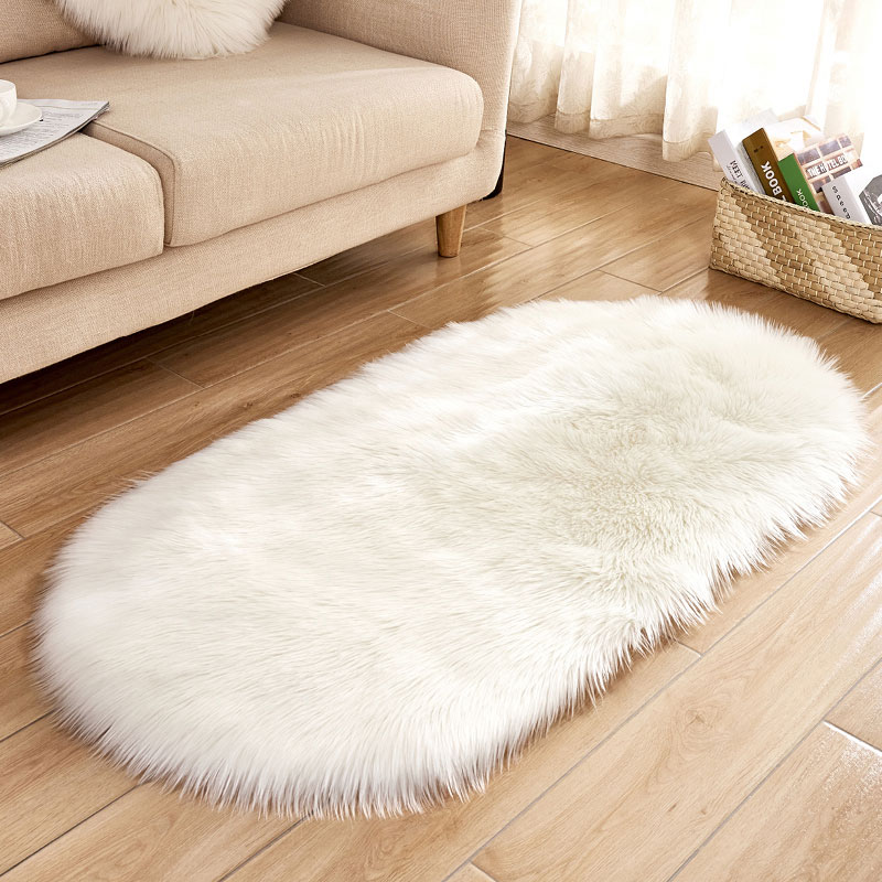 Customize thick fur faux sheepskin rug for bedside
