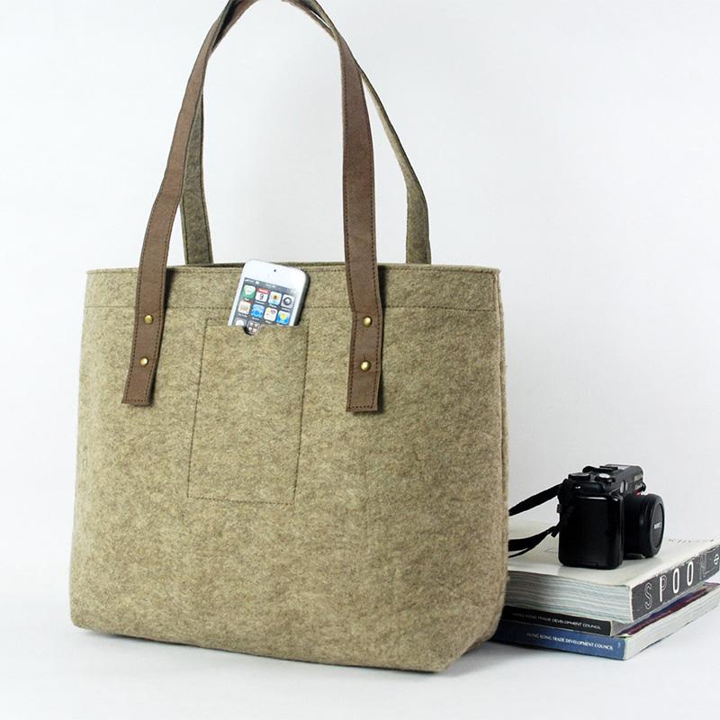 OEM ladies felt bag handbag shoulder bag with big size