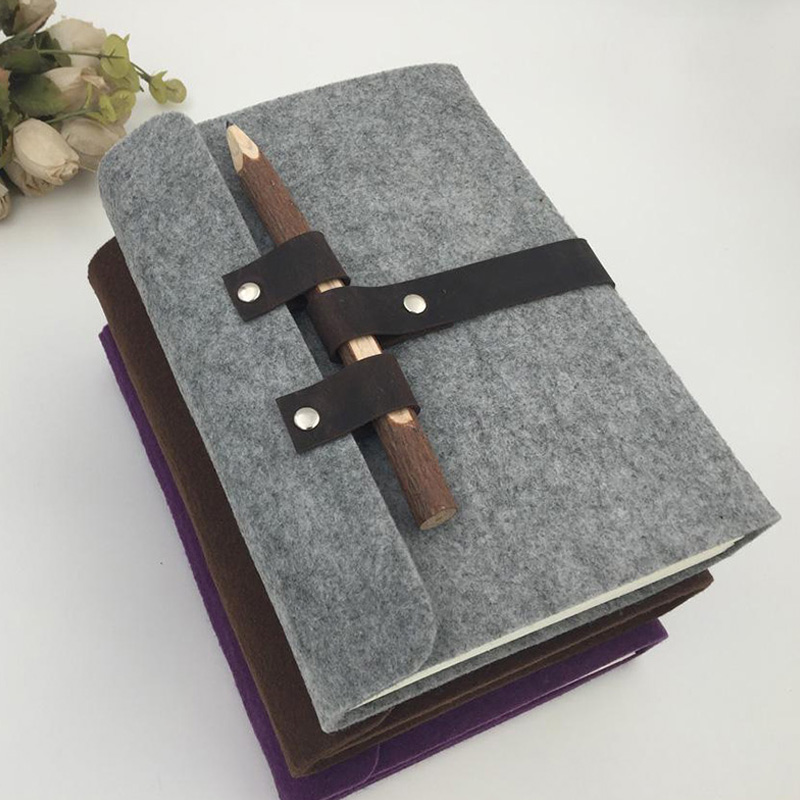 Multi-size felt book cover high quality custom felt notebook with Snap