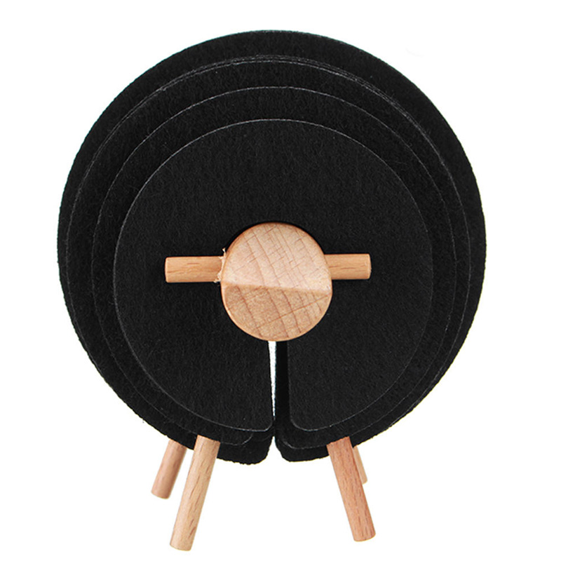Felt Sheep Coaster Pads with Wood Holder Set Felt Cup Glass Coasters for Drink