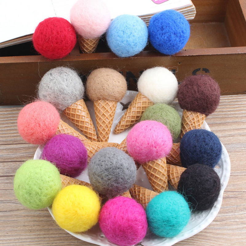 Handmade Colorful DIY wool felt balls 3CM Christmas Decoration