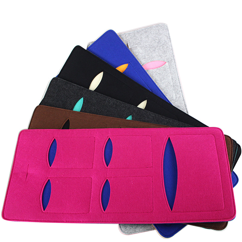 5-Pocket wall hanging organizer felt cell phone holder for mobile phone