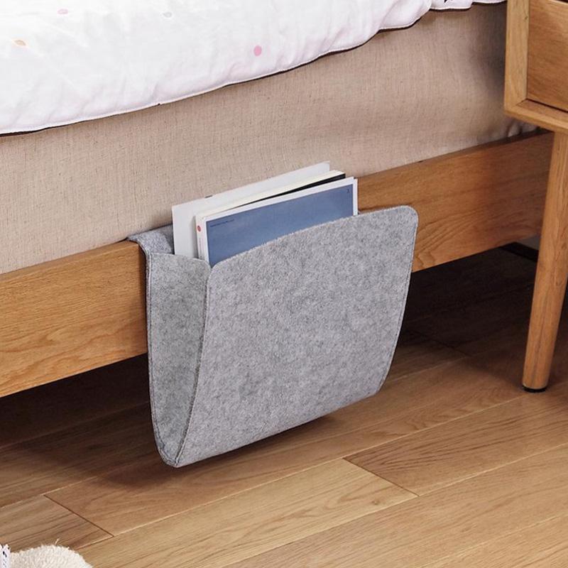 Felt Fabbic Bedside Storage Basket Organizer Bag With Custom Logo