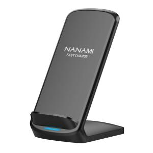 NANAMI Upgraded Fast Wireless Charger Fast Wireless Charging Stand Compatible Samsung Galaxy S10+/S9/S8/S7 Edge/Note 10/9/8 & Qi Charger Compatible iPhone 11/11 Pro/11 Pro Max/XR/XS Max/XS/X/8/8 Plus