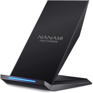 NANAMI Fast Wireless Charger Qi Certified Charger Wireless Charging Stand Compatible iPhone 11/11 Pro/11 Pro Max/XS/XS Max/XR/X/8/8 Plus,Samsung Galaxy S10+ S9 S8 S7 Note 10/9/8 and Qi-Enabled Phone