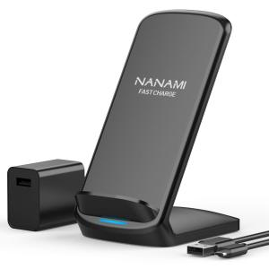 Fast Wireless Charger,NANAMI 7.5W Wireless Charging Stand [with QC3.0 Adapter] Compatible iPhone 11/11 Pro/11 Pro Max/XS Max/XS/XR/X/8/8 Plus,10W Fast Charger for Samsung S10/S10+/S9/S8/S7/Note10/9/8