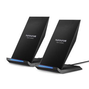 [2パック] NANAMI高速ワイヤレス充電器Qi認定充電器ワイヤレス充電スタンド対応iPhone 11/11 Pro / 11 Pro Max / XR / XS Max / XS / X / 8/8 Plus、Samsung Galaxy S10 + S9 Note 10/9およびQi-有効な電話