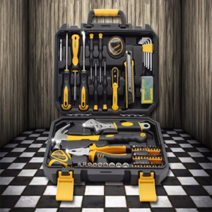 8-Piece Tool Set - General Household Hand Tool Kit with Plastic Toolbox Storage