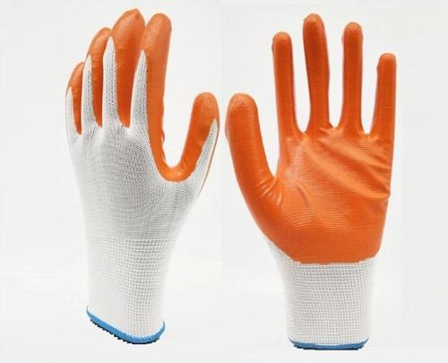 Black/Orange/Green L Size Nitrile Gloves