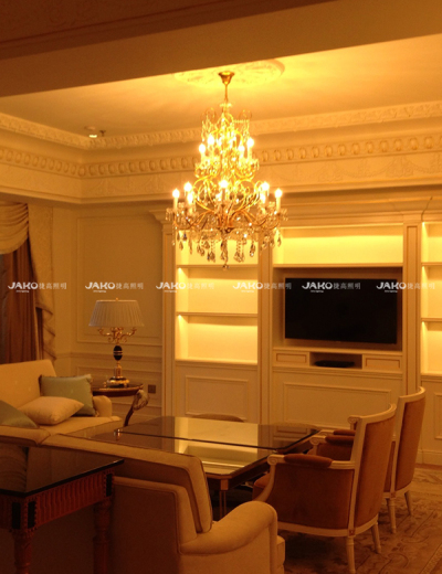 Phòng khách đèn chùm châu Âu ở tianjing Ritz-carlton
