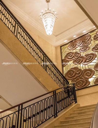 Đèn chùm pha lê cầu thang tùy chỉnh trong khách sạn Evergreen Laurel Thượng Hải