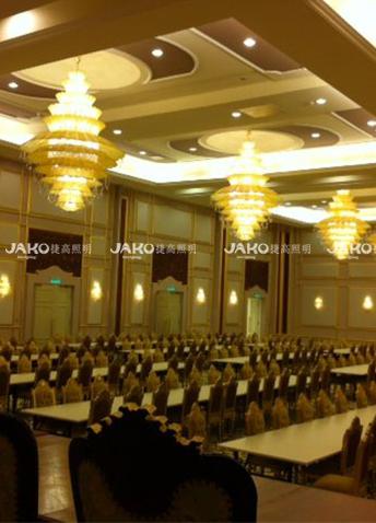 Phòng họp đèn chùm vàng pha lê K9 cho Cung điện Hoàng gia Malaysia