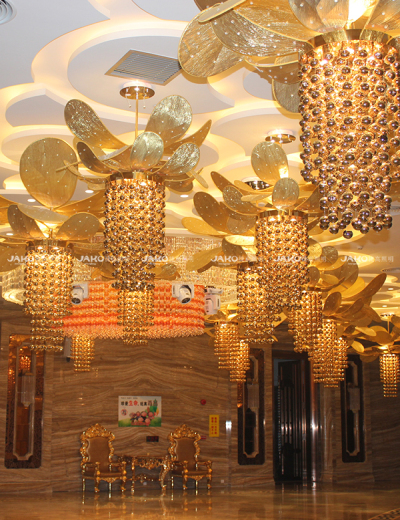 Golden large  Chandelier in Century Royal Palace Hotel