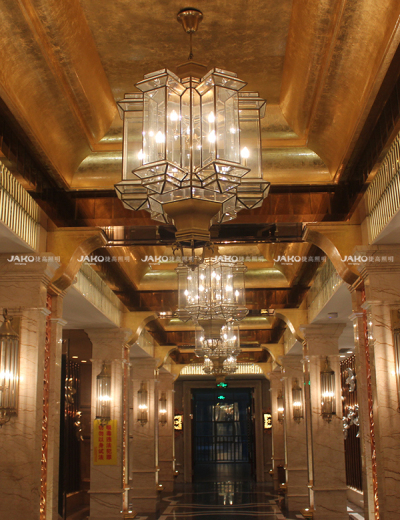 Century royal palace hotel acrylic shade pendant with plated brass frame