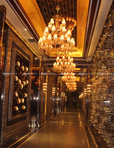 Corridor pendant lighting design with metal frame in Century ROyal Palace Hotel