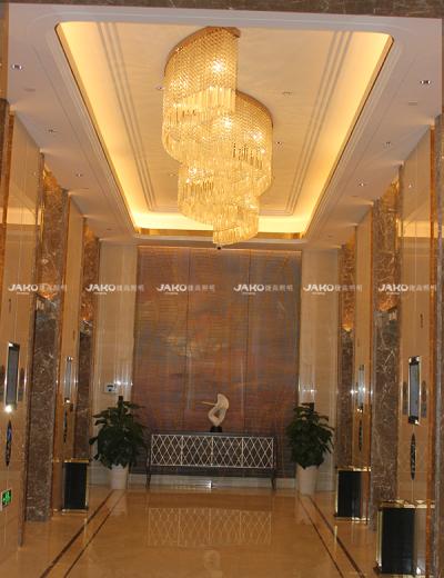 Đèn chùm pha lê hành lang tùy chỉnh bởi Jingling Shihu Garden Hotel