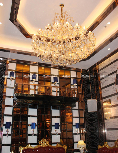 Lobby crystal chandelier with LED lighting source customized by century Royal Palace Hotel