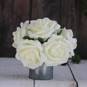10Cm Artificial Decorative Wedding Cream Rose, 6Pcs/Bunch