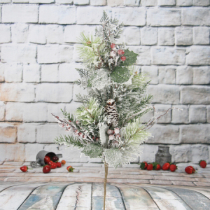 65Cm Artificial Decorative Christmas Spray With Pine Cone/Glitter/Red Berry/Snow