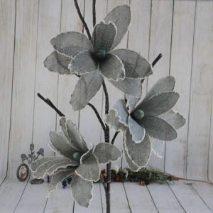 113Cm Artificial Decorative Ramie Flower Grey Lily With Foam Edge