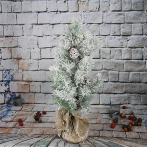 72Cm Artificial Decorative Pine Christmas Tree With Pine Cone Cover snow, Cement Pedestal