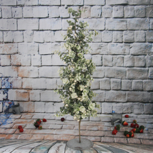 77Cm Artificial Decorative Eucalyptus Christmas  Tree With Pearl, Iron Pedestal With Pine Cone, Red Berry And Wooden Items, Foam Center