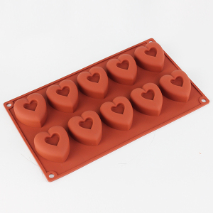 10 cups heart shaped silicone mold