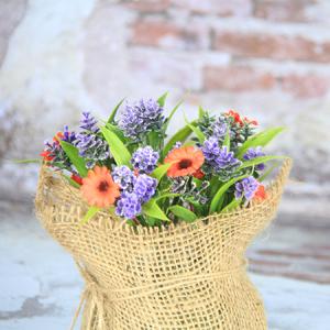 18X10Cm Artificial/Decorative Pot  With Orange Flowers Marguerite,Ramie Cover Pot