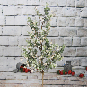 74Cm Artificial Decorative Christmas Eucalyptus Spray With White Berry/Glitter