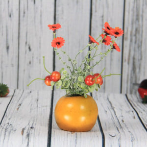 22X8Cm Artificial/Decorative Fruits Pot Item With Daisy& Cherry, Apple Pot