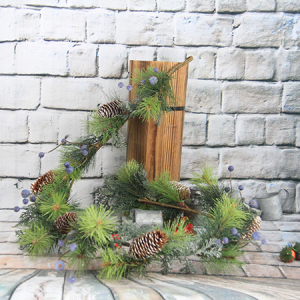Artificial Decorative Christmas Graland With Pine Cone/Blue Berry/Glitter