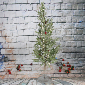 77Cm Artificial Decorative Olive Leaf Christmas Tree With  Red Berry, Iron Pedestal