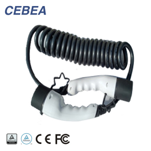16A 32A IEC 62196 1 phase Type 2 to Type 2 EV charging spiral cable