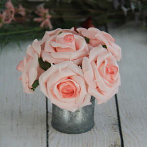 8Cm Artificial Decorative Wedding Pink Rose 6Pcs/Bunch