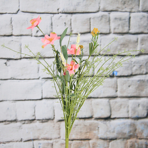 54cm  Artificial/Decorative Wild Flower Poppy with Wheat and Gypsophila