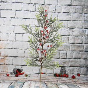 70Cm Artificial Decorative Christmas Spray With Pine Cone/Glitter/Red Berry