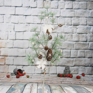 68Cm Artificial Decorative Christmas Spray With Snow/Cotton/Pine Cone/White Berry/Glitter