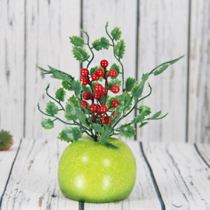 22X9.5Cm Artificial/Decorative Fruits Pot With Red Berry, Apple Pot