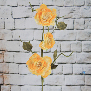 84Cm Artificial/Decorative Organza Flower Yellow-Orange Chinese Rose