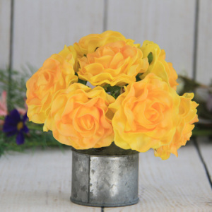 7.5Cm Artificial Decorative Wedding Yellow-Orange Rose, 8Pcs/Bunch