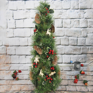 66Cm Artificial Decorative Christmas Tree/Tower , With Pine Cone, Red Berry And Wooden Items, Foam Center