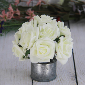 7Cm Artificial Decorative Wedding Small Cream Rose, 8Pcs/Bunch