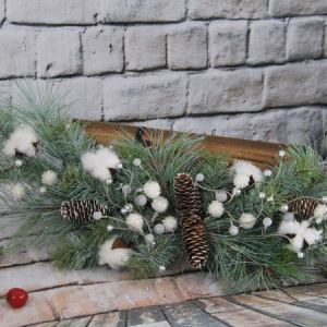 73Cm Artificial Decorative Christmas Swag Wiht Pine Cone&White Berry&Silver Berry& Cotton&Glliter