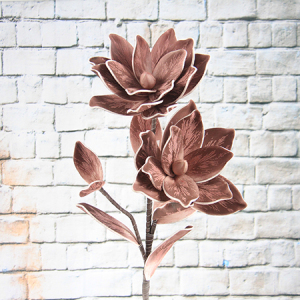 100Cm Rtificial Decorative Printed Foam Flower Magnolia With Leave