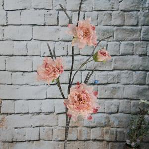 113 Artificial/Decorative Organza Flower Peony 3 Flowers