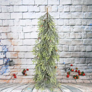 72Cm Artificial Decorative Antlers Pine Christmas Tree With Pine Cone, Iron Pedestal